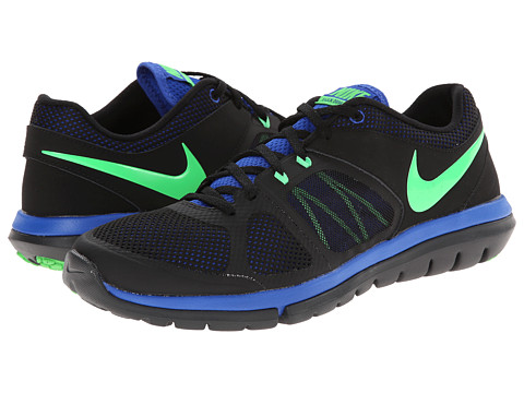 Nike - Flex 2014 Run (Black/Lyon Blue/Anthracite/Poison Green) Men's Running Shoes