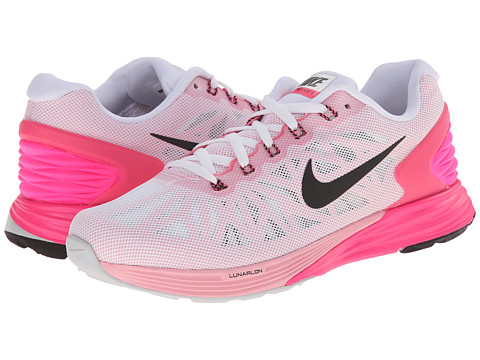 Nike - Lunarglide 6 (White/Pink Pow/Space Pink/Black) Women's Cross Training Shoes