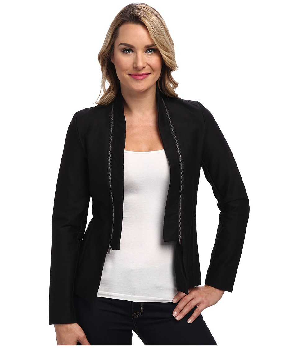 Calvin Klein Jeans - Double Texture Zip Collar Jacket (Black) Women's Jacket