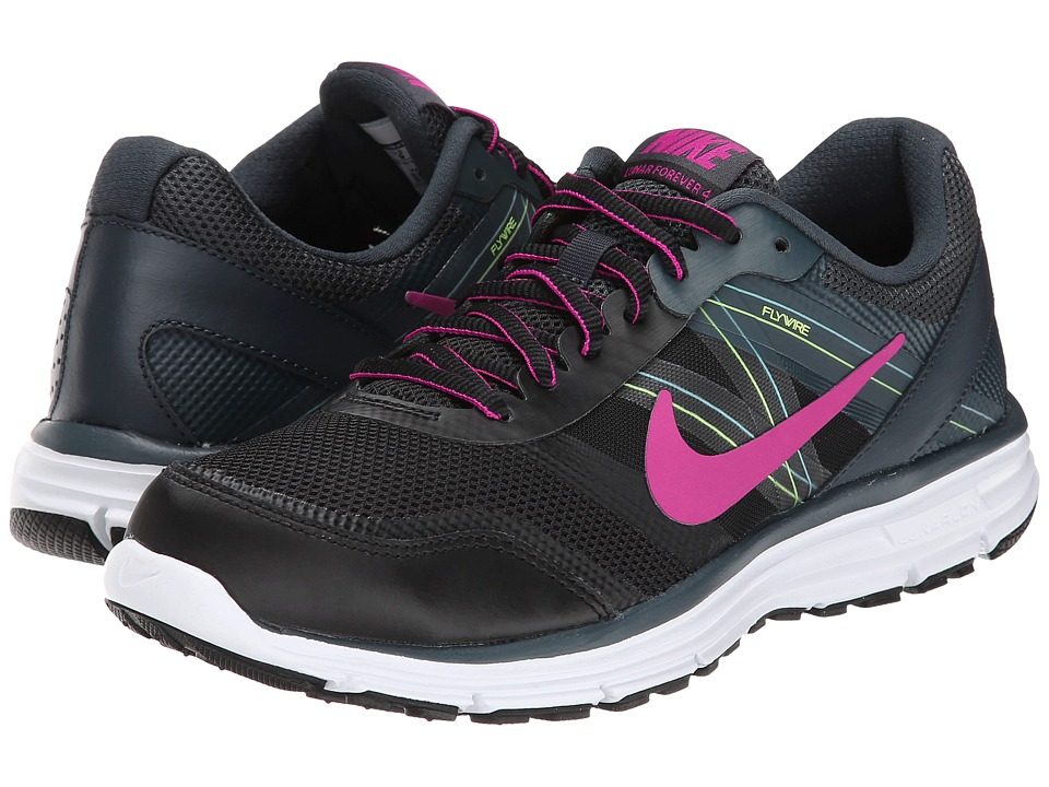 Nike - Lunar Forever 4 (Black/Classic Charcoal/Volt/Fuchsia Flash) Women's Running Shoes