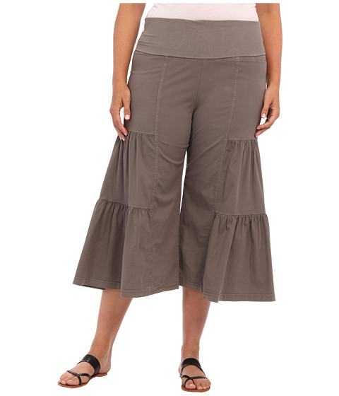 XCVI Plus Size - Plus Size Cropped Palazzo (Moonbeam) Women's Casual Pants