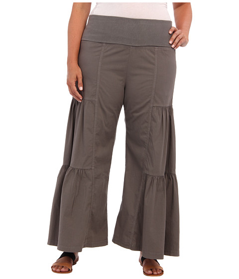 XCVI Plus Size - Plus Size Side Tier Palazzo (Moonbeam) Women's Casual Pants
