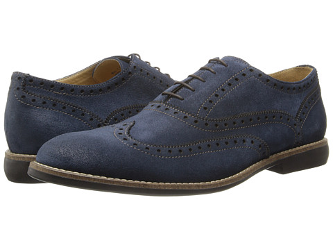 Kenneth Cole Reaction - Why I Oughta (Navy Suede) Men's Lace Up Wing Tip Shoes