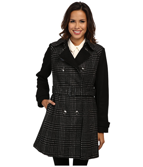 MICHAEL Michael Kors - Double Breasted Two-Tone Plaid Trench (Black Multi) Women