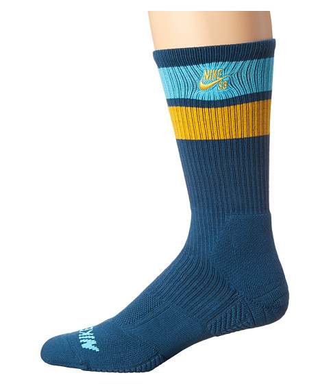 Nike SB - Elite SB Skate Crew Sock (Blue Force/Clearwater/University Gold/University Gold) Men