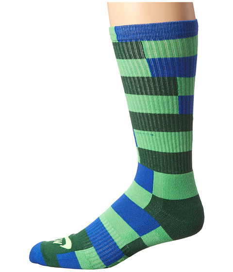 Nike SB - Striped Dri-Fit Skate Crew (Poison Green/Game Royal/Gorge Green/Flash Lime) Men's Crew Cut Socks Shoes