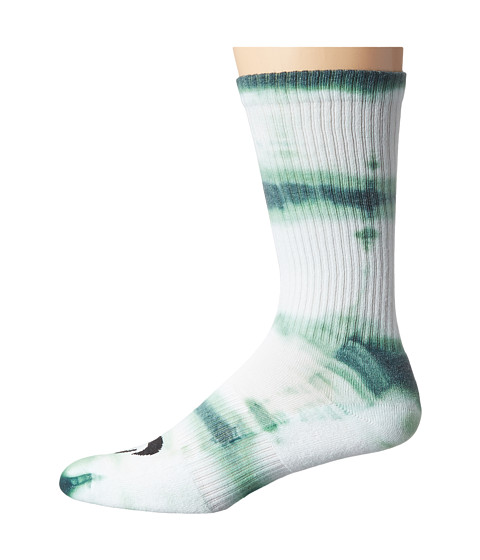 Nike SB - Tie-Dye Dri-Fit Skate Crew (White/Gorge Green/Black) Crew Cut Socks Shoes
