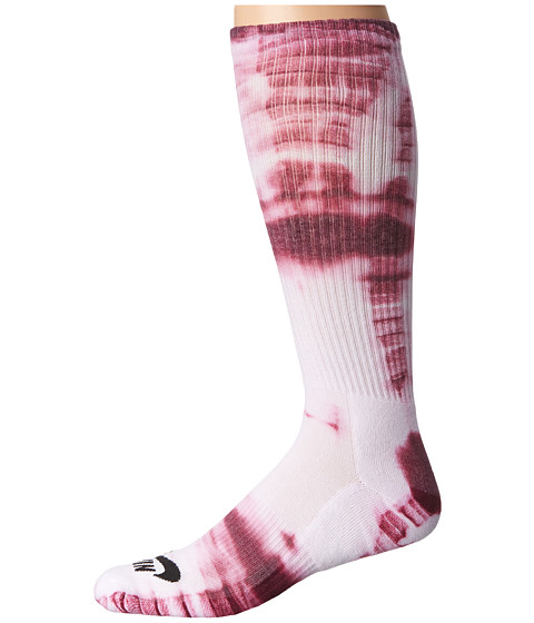 Nike SB - Tie-Dye Dri-Fit Skate Crew (White/Villain Red/Black) Crew Cut Socks Shoes