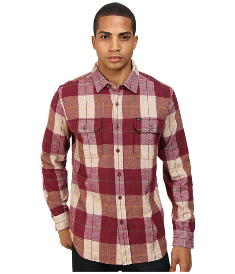 Obey - Raleigh L/S Woven (Brown) Men's Long Sleeve Button Up