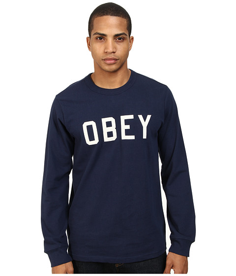 Obey - Bearing L/S Tee (Dark Navy) Men