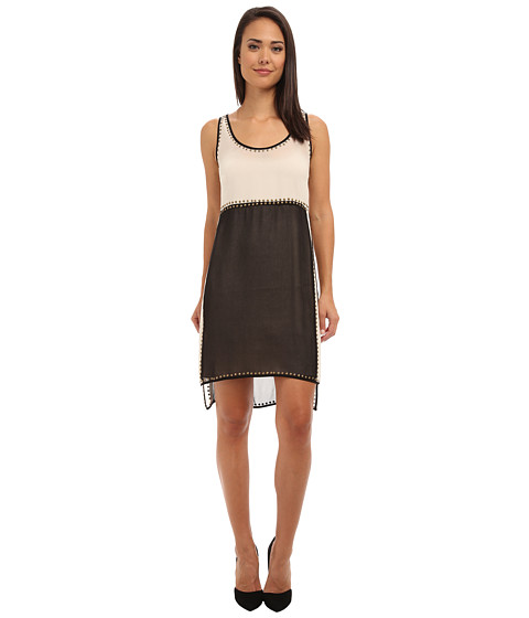 Ivy & Blu Maggy Boutique - Sleeveless Double Layer Tank Dress with Studs (Black/Nude) Women