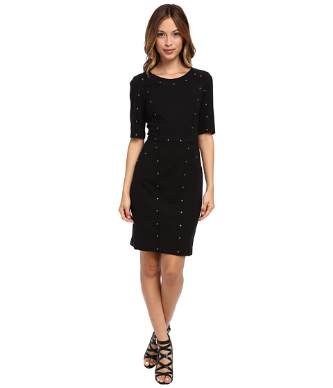 Ivy & Blu Maggy Boutique - Elbow Sleeve Studded Sheath (Black) Women's Dress