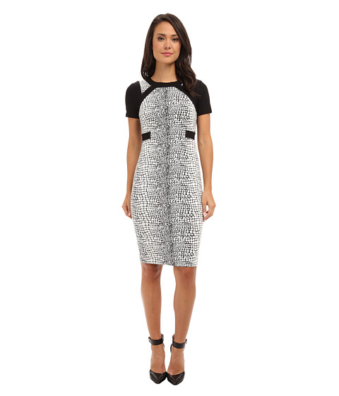 Ivy & Blu Maggy Boutique - Short Sleeve Textured Knit Midi (Black/White) Women