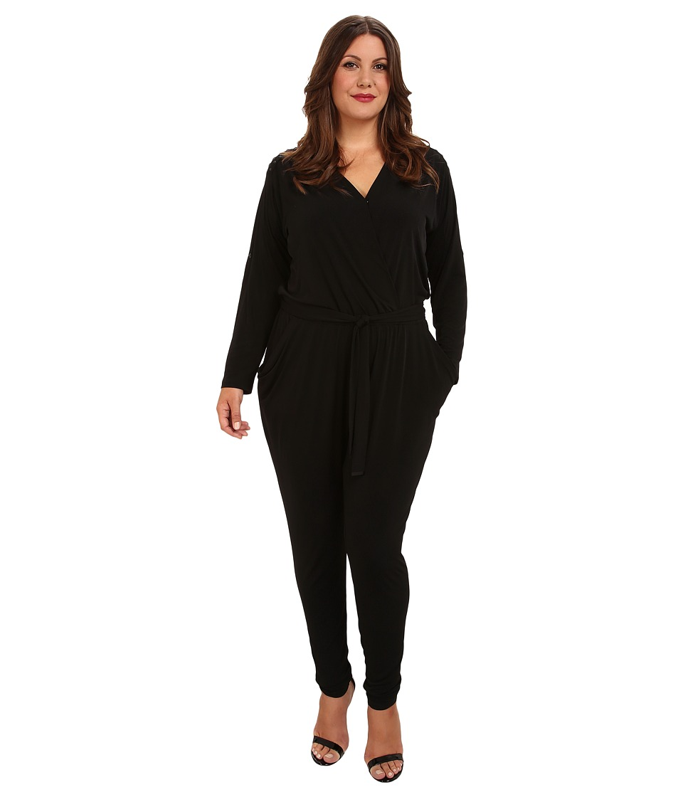 MICHAEL Michael Kors - Plus Size Roll Sleeve Stud Jumpsuit (Black) Women's Jumpsuit & Rompers One Piece