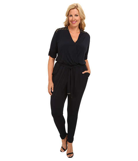 MICHAEL Michael Kors - Plus Size Roll Sleeve Stud Jumpsuit (New Navy) Women's Jumpsuit & Rompers One Piece