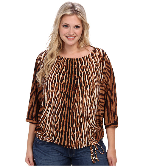 MICHAEL Michael Kors - Plus Size Mixed Print Batwing Top (Chocolate) Women