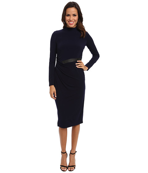 Ivy & Blu Maggy Boutique - Long Sleeve Mocked Turtle Neck Solid Midi (Navy/Black) Women's Dress