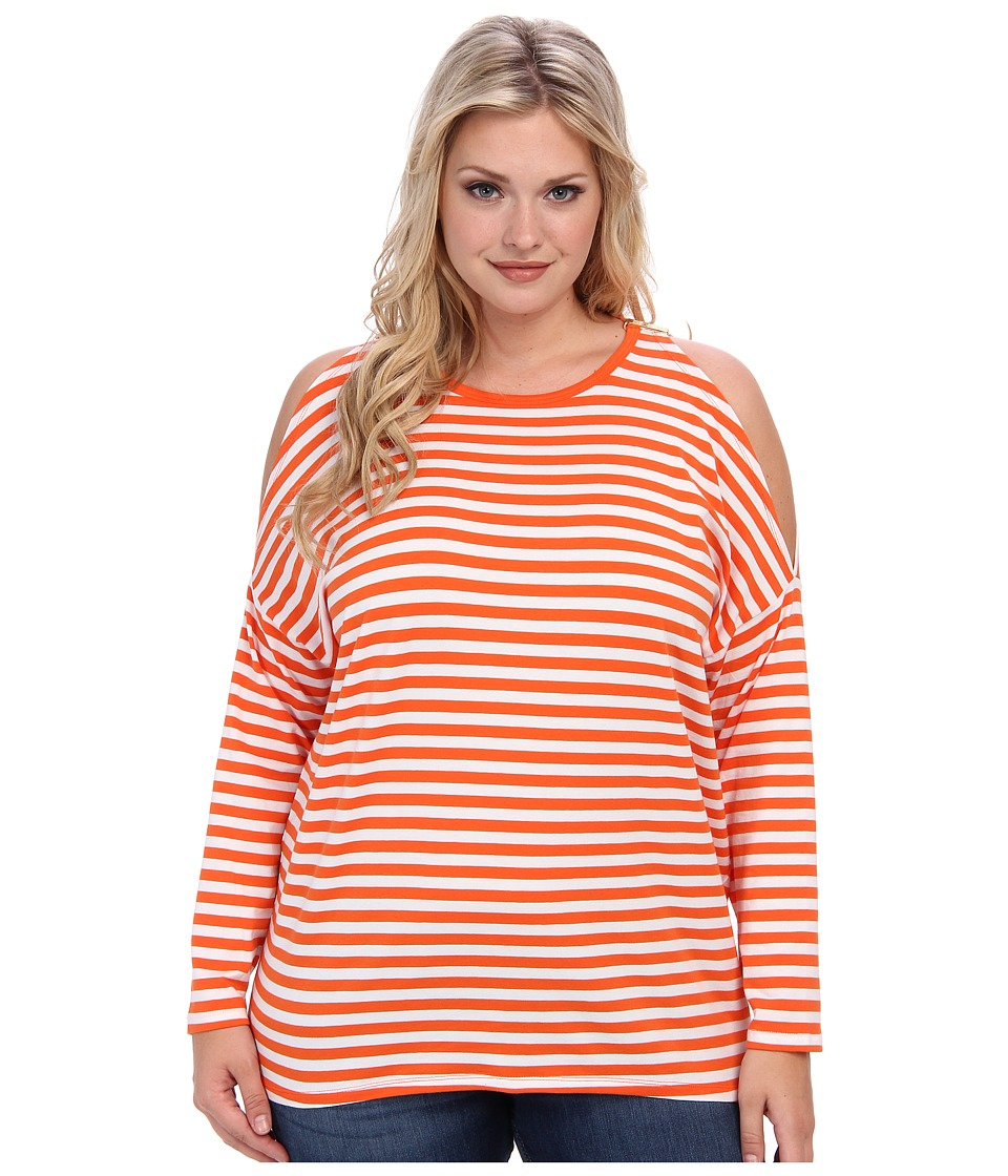 MICHAEL Michael Kors - Plus Size L/S Stripe Cold Shoulder Top (Poppy/White) Women's T Shirt