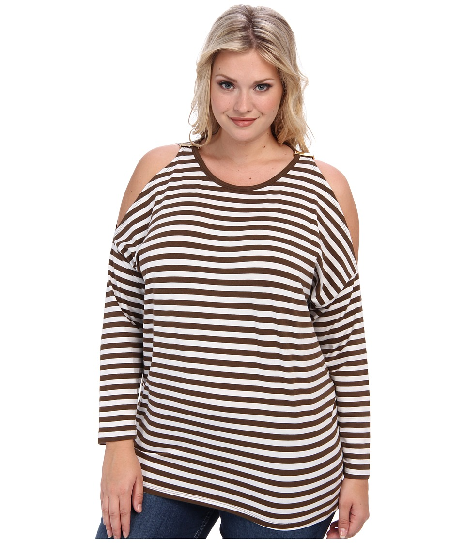 MICHAEL Michael Kors - Plus Size L/S Stripe Cold Shoulder Top (Duffle/White) Women