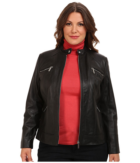MICHAEL Michael Kors - Plus Size Zip Pocket Leather Jacket (Black) Women's Coat