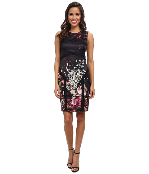 Ivy & Blu Maggy Boutique - Sleeveless Floral Print Sheath with Lace (Black Multi) Women's Dress