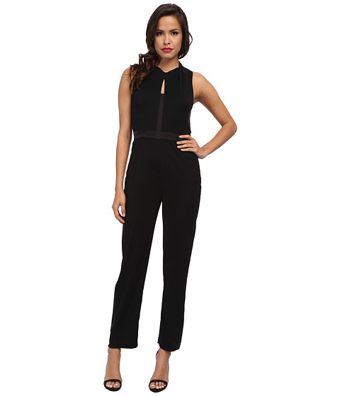 Ivy & Blu Maggy Boutique - Sleeveless Solid Tuxedo Inspired Jumpsuit w/ Keyholes (Black) Women