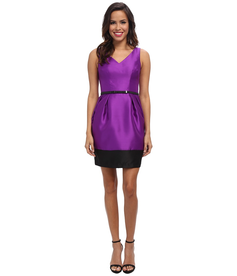 Ivy & Blu Maggy Boutique - Sleevless Solid V-Neck Barrel Skirt (Imperial Purple/Black) Women's Dress