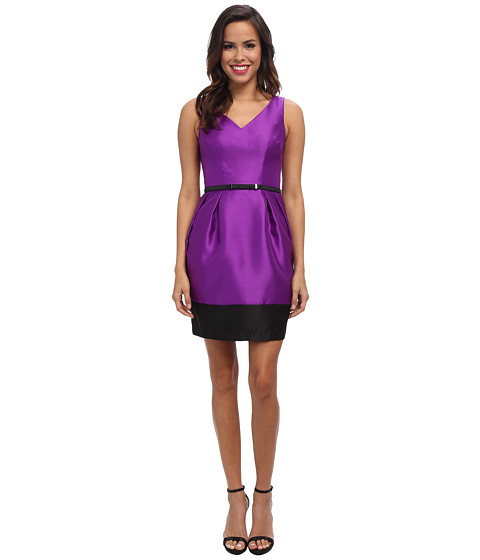 Ivy & Blu Maggy Boutique - Sleevless Solid V-Neck Barrel Skirt (Imperial Purple/Black) Women