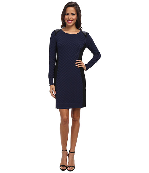 Ivy & Blu Maggy Boutique - Long Sleeve Textured Sheath w/ Shoulder Details (Black/Blue) Women's Dress