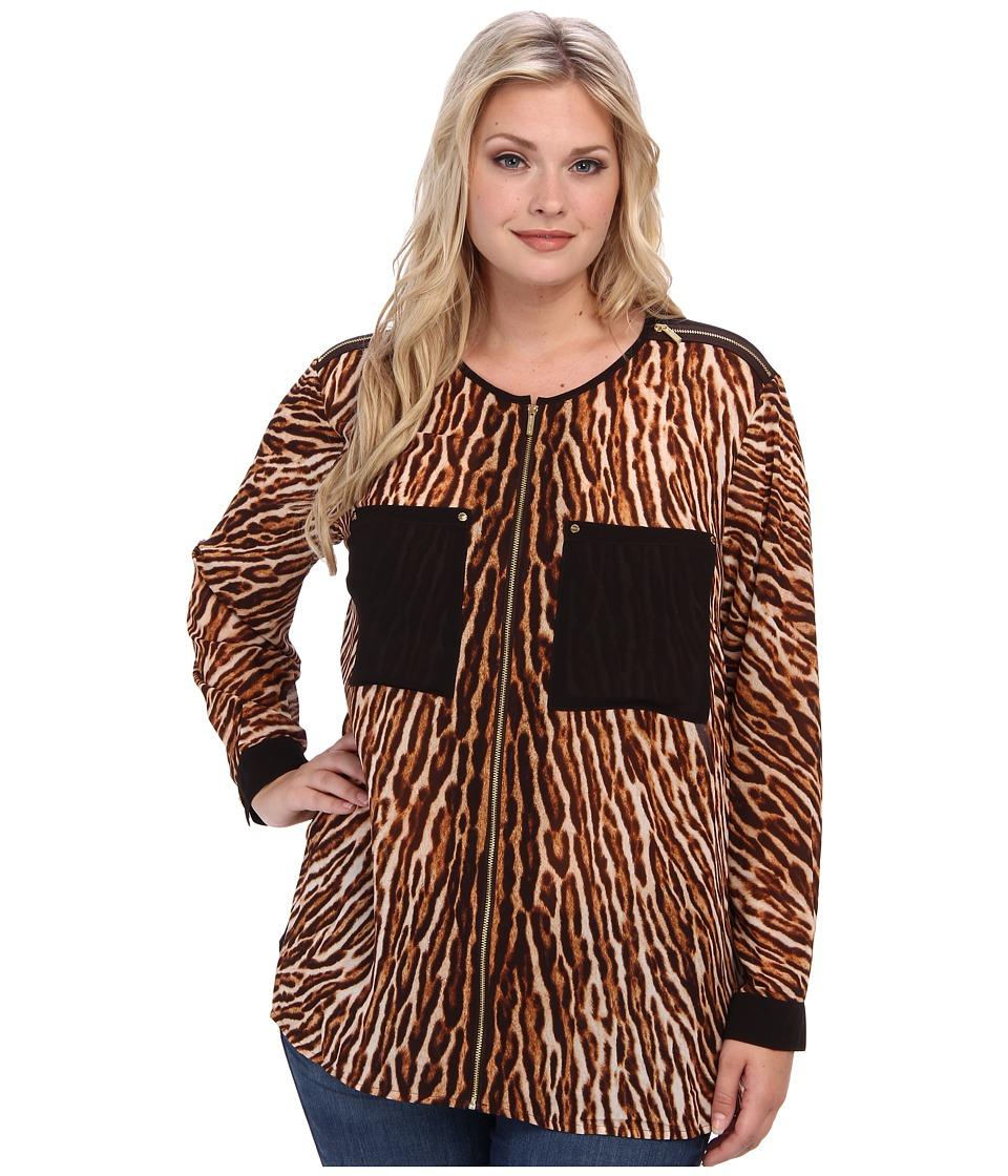 MICHAEL Michael Kors - Plus Size Mowani L/S Oversized Blouse (Chocolate) Women's Blouse