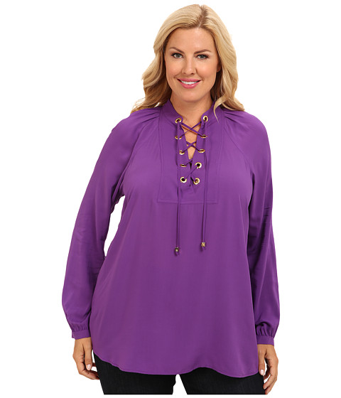 MICHAEL Michael Kors - Plus Size L/S Lace Up Top (Violet Glaze) Women
