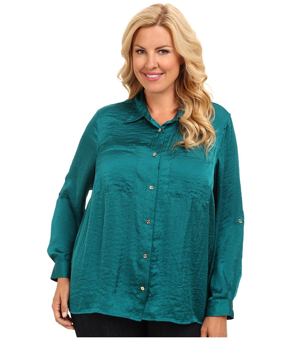 MICHAEL Michael Kors - Plus Size High-Low Button Down Shirt (Deep Sea Green) Women
