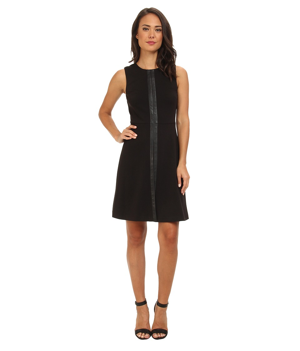 Calvin Klein - A-Line Dress w/ PU (Black) Women's Dress