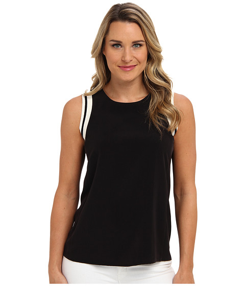 Calvin Klein - S/L Top w/ Rib at Neck (Black) Women