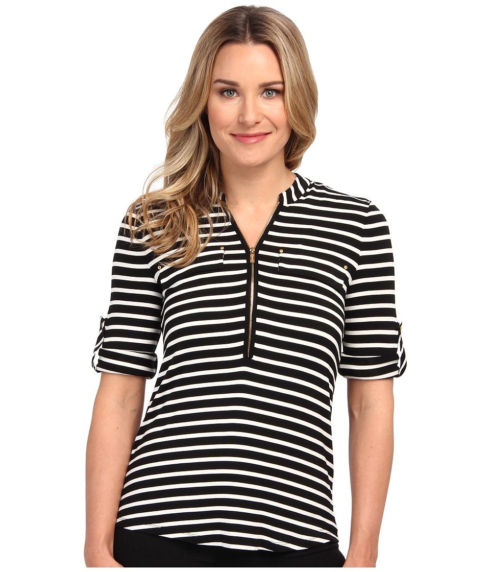 Calvin Klein - Zip Front Roll Sleeve (Black/Birch Black/Birch) Women's Long Sleeve Pullover