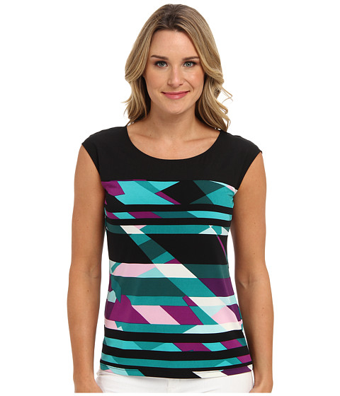 Calvin Klein - Black Top Tee w/ Print (Purple Multi) Women's T Shirt