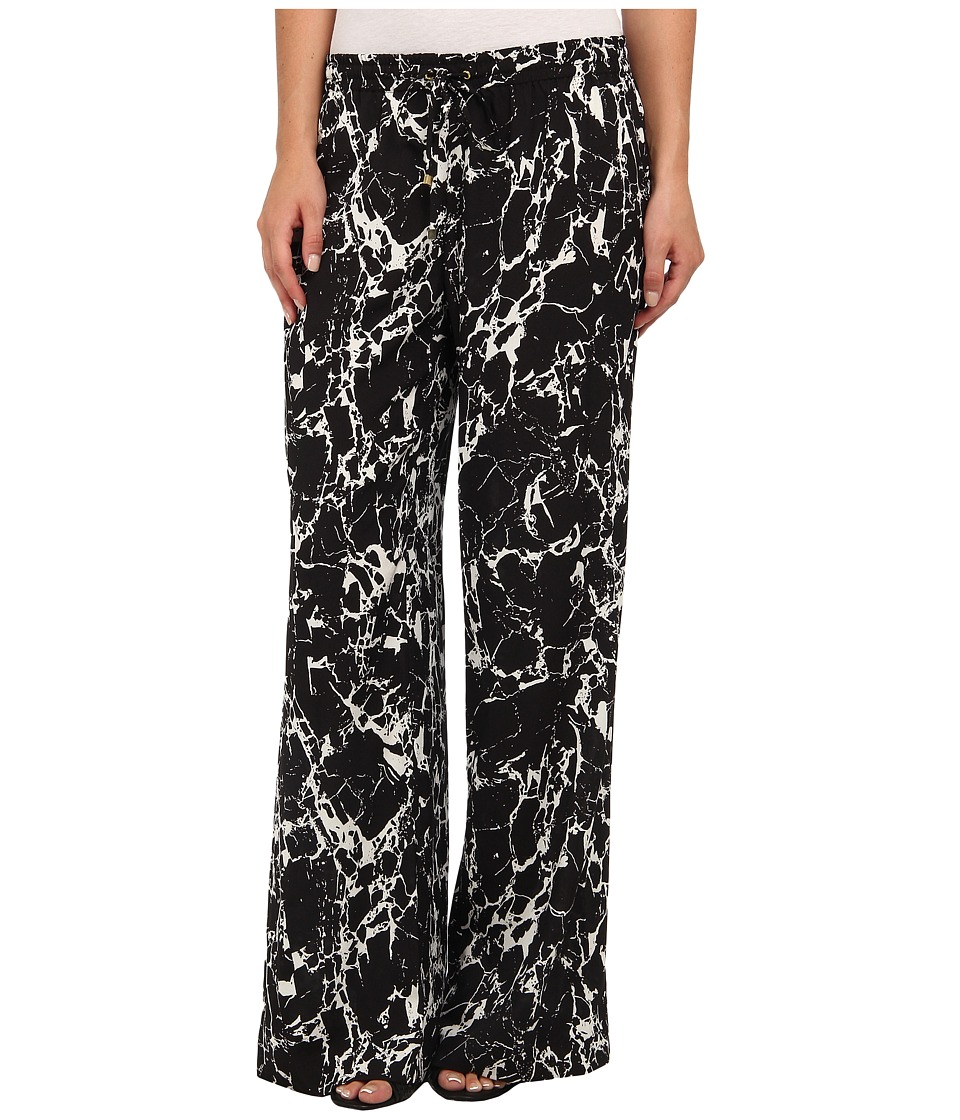 Calvin Klein - Print Wide Leg Pant (Black/Birch) Women's Casual Pants