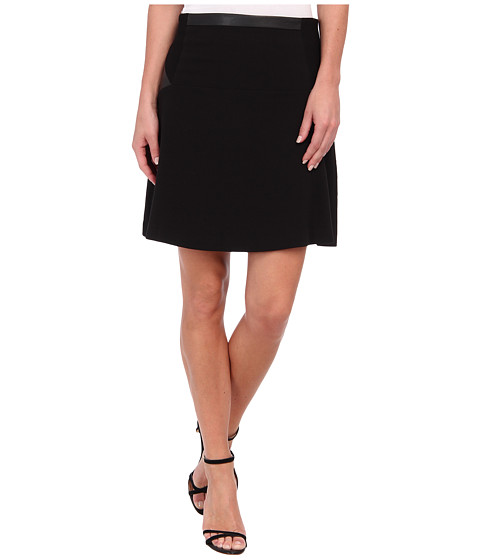 Calvin Klein - Flared Skirt w/ Ponte (Black) Women