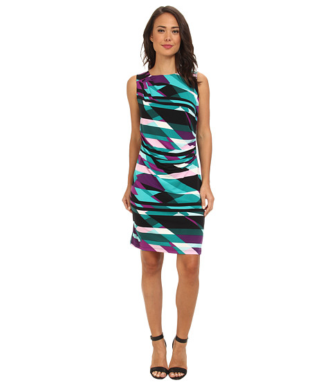 Calvin Klein - S/L Ruched Dress (Purple Multi) Women's Dress