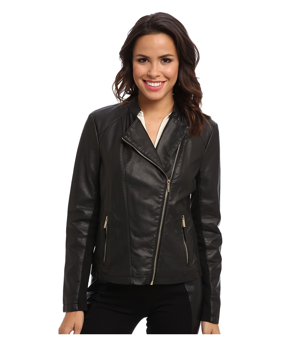 Calvin Klein - Repeat Moto Jacket (Black) Women's Coat