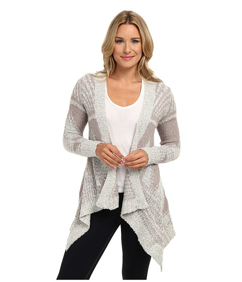 Christin Michaels - Karen Stripe Cardigan (Ivory/Steel) Women's Sweater