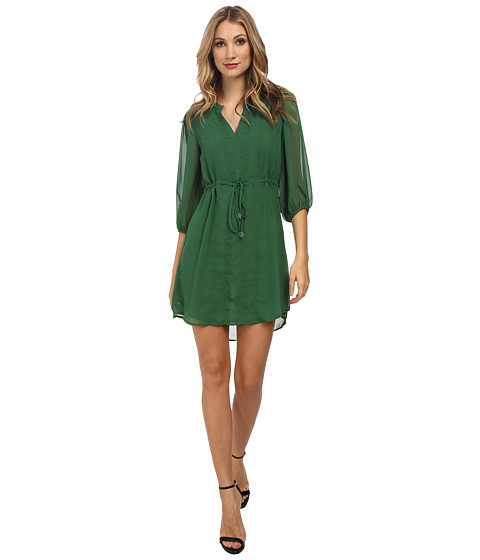 Christin Michaels - Shyloh Chiffon Dress with Waist Tie (Green) Women