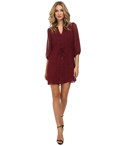 Christin Michaels - Shyloh Chiffon Dress with Waist Tie (Burgundy) Women