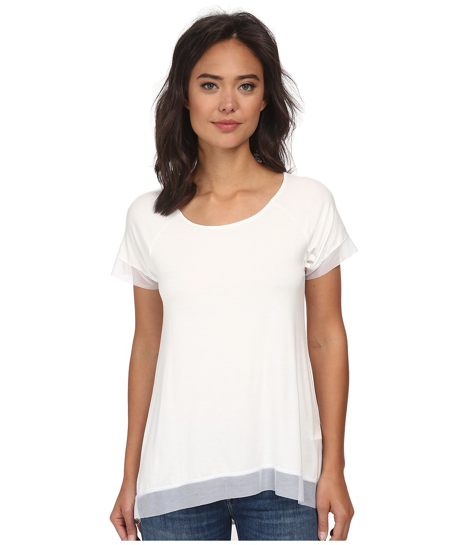Christin Michaels - Jersey Chiffon Tunic (White) Women's Blouse