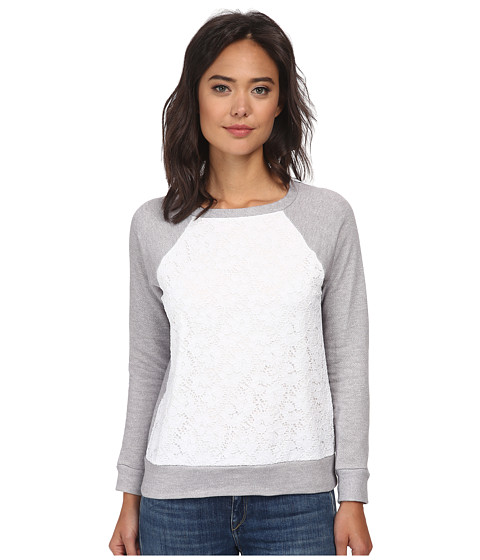 Christin Michaels - Lace Sweaterknit Top (Grey) Women's Sweater