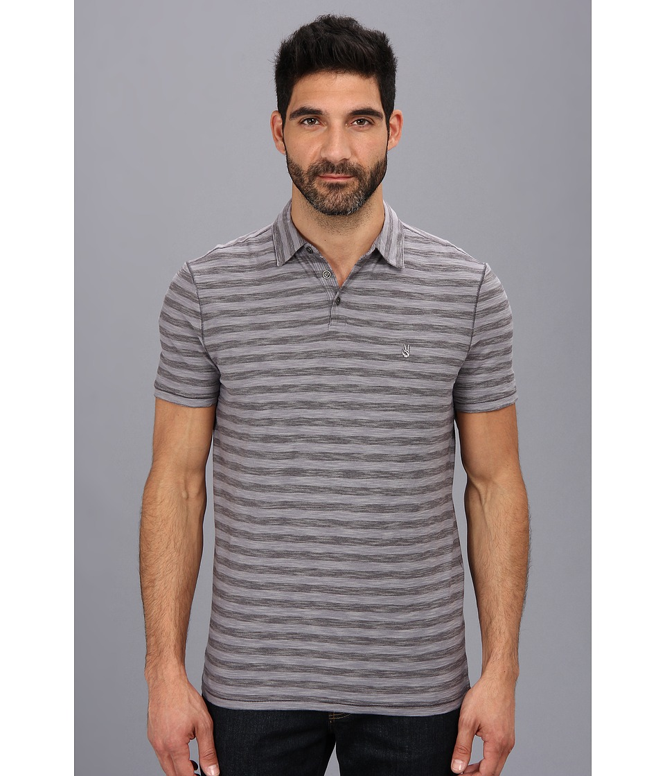 John Varvatos Star U.S.A. - Striped Soft Collar Peace Polo AWT9B (Plumwood) Men's Short Sleeve Knit