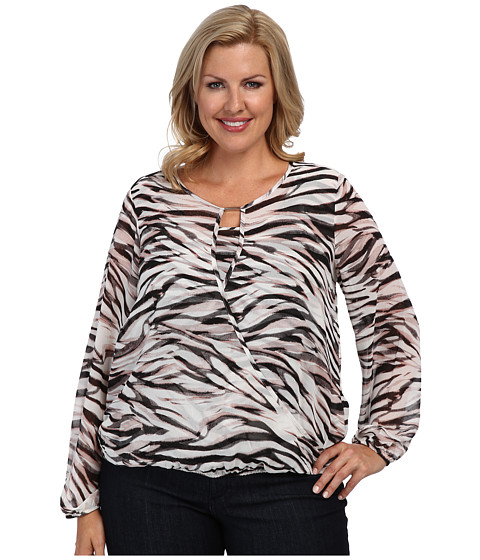 Calvin Klein Plus - Plus Size Print Wrap Top w/ Band (Pink/Grey) Women's Blouse