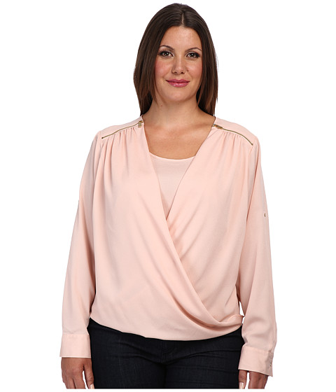 Calvin Klein Plus - Plus Size V-Neck Drape Roll Sleeve Top (Blush) Women's Blouse