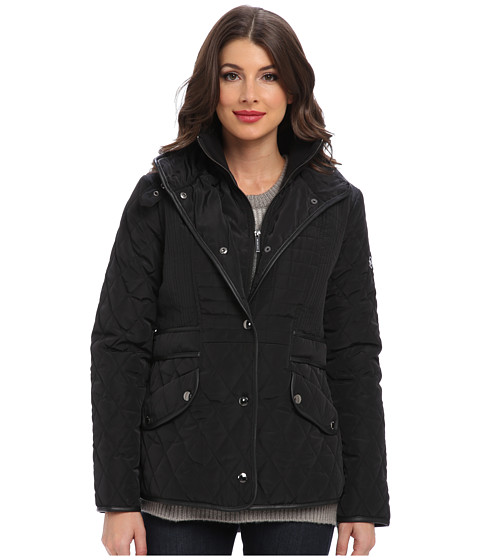 MICHAEL Michael Kors - Quilted w/ Side Tabs (Black) Women's Coat