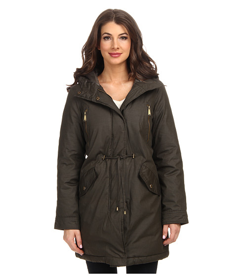 MICHAEL Michael Kors - Cotton Anorak w/ Fly Front and Hood (Army Green) Women's Coat